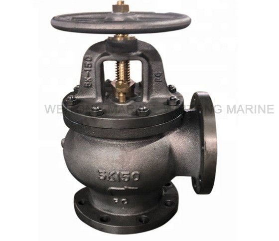 High Accuracy JIS Cast Iron Marine Angle Valve F7306 5K With Handle Wheel